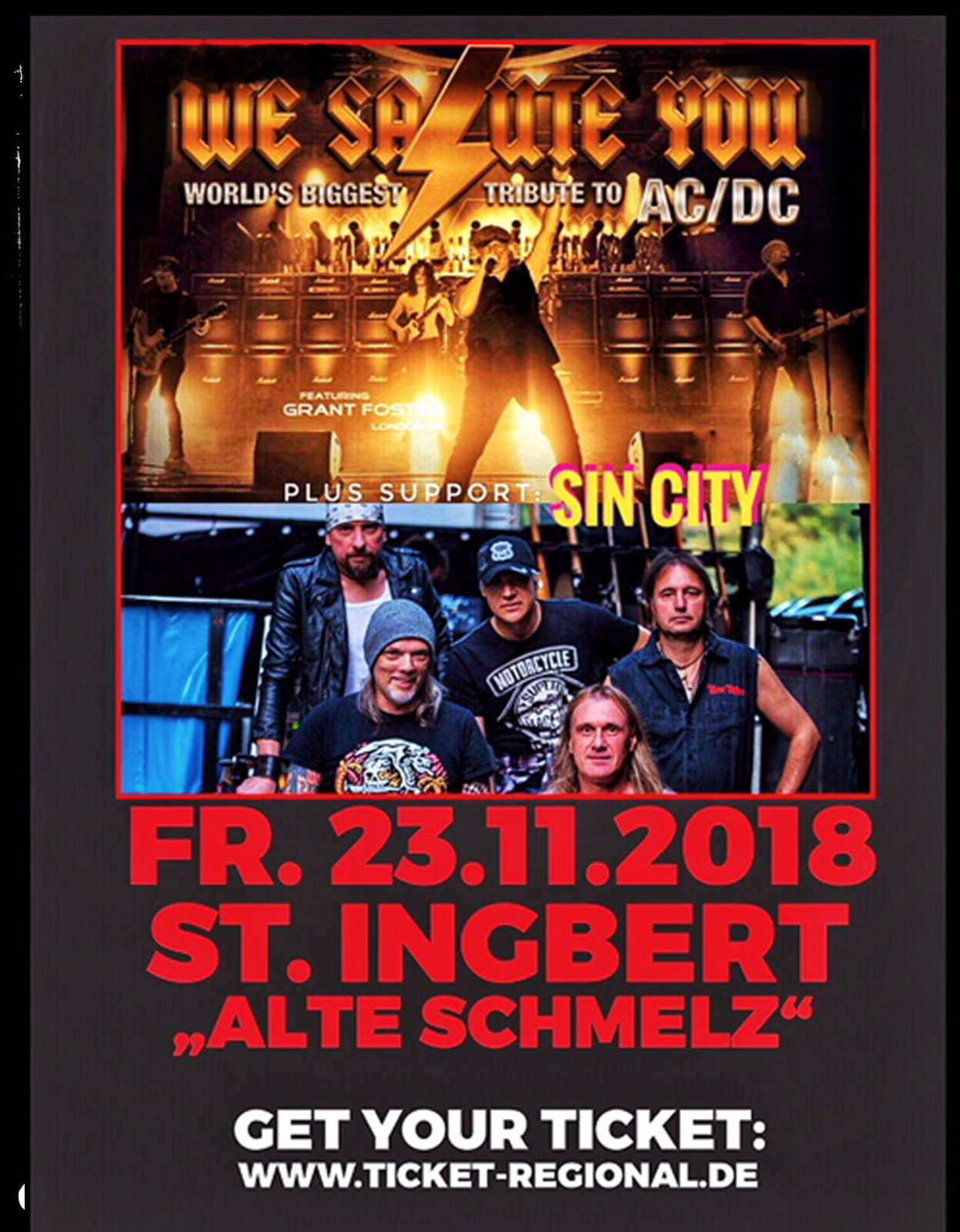 SIN/CITY supports We Salute You AC/DC Tribute Show / Live - 23. November 2018 St. Ingbert Alte Schmelz